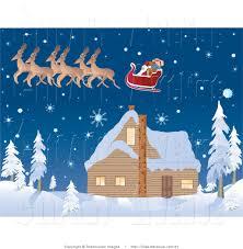 avenue clipart of santa u0027s reindeer pulling his festive sleigh