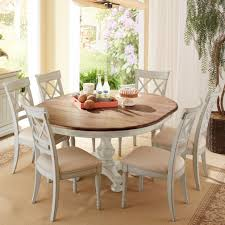 cresent fine furniture cottage 7 piece round table and double x