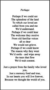 memorial poems for memorial card poems