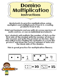 domino multiplication game using multipliers 1 5