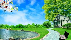 flowers grass green house trees car spring view footpath