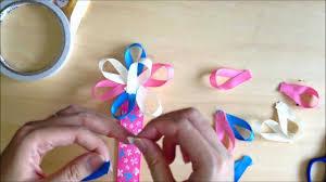 how to make flower ribbon bookmark using patterned grosgrain