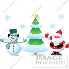 clip art illustration of frosty the snowman and santa claus waving