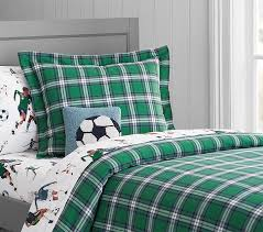 organic field plaid duvet cover pottery barn kids