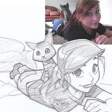 illustrator turns strangers u0027 photos into anime inspired sketches