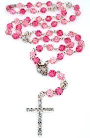 pink rosary 8mm and light pink swarovski rosary