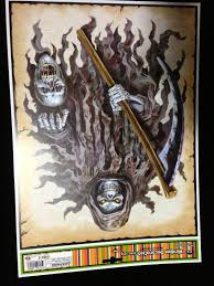 life size gothic grim reaper sickle zombie horror halloween prop