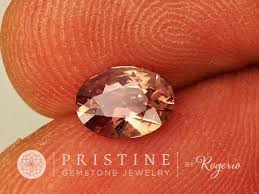 fine gemstone rings images Chocolate peach sapphire oval shape fine gemstone for engagement ring jpg