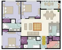 vector of three bedroom floor plan with den and furniture royalty