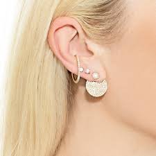earring jacket diamond pave disc earring jacket the last line