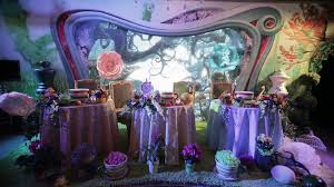 interior of a wedding hall decoration ready for guests beautiful