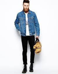 mens riding jackets lee jeans denim jacket regular fit rider stonewash in blue for men