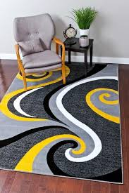 Modern Yellow Rug 2984 Yellow Abstract Contemporary Area Rugs Living Rooms