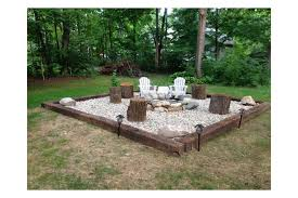 Bbq Side Table Plans Fire Pit Design Ideas - fire pit with gravel and railroad ties patio and deck