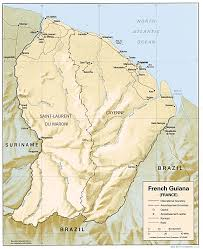 Maps France by Guyane French Guiana Shaded Relief Map France