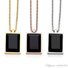 black gem necklace images Wholesale men simple luxury black square gem small pendant jpg