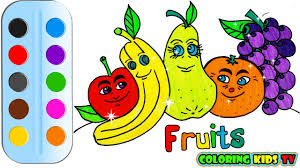 coloring pages fruits u0026 drawing for children how to color by