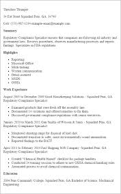 Highlights On A Resume Professional Regulatory Compliance Specialist Templates To