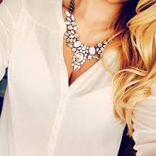 white shirt white necklace images How to wear white statement necklaces style guide jpg