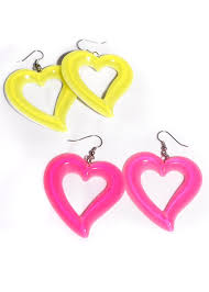 plastic earrings neon heart cut out earrings candy apple costumes