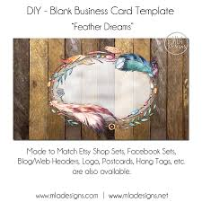 dyi blank business card template feather dreams feather