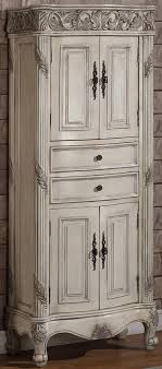 Antique Ivory Closed Top Linen Cabinet For The  Vanities - Antique white bathroom linen cabinets
