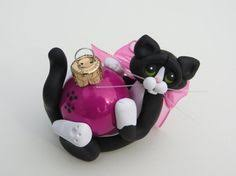 tuxedo cat ornament winter and tuxedo