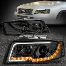 audi a4 headlights led drl turn signal for 2002 2005 audi a4 smoked housing
