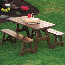 Round Redwood Picnic Table by Wood Picnic Tables Hayneedle