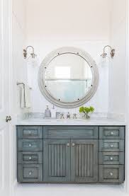 How To Frame A Large Bathroom Mirror by Distressed Bathroom Cabinet This Bathroom Features Vertical