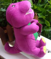 purple plush soft toy doll barney dinosaur sing love