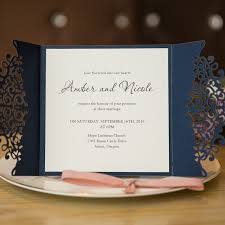 formal navy blue laser cut wedding invitation cards with band