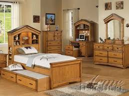 4 piece montana bedroom set in rustic oak finish by acme 00125
