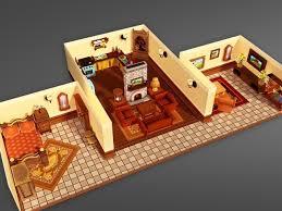 3d model cartoon house interior cgtrader