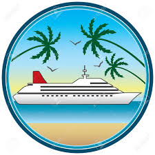 framed cruise ship in tropical setting royalty free cliparts