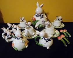 bunny tea set easter tea set etsy