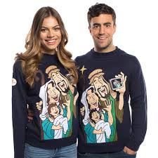 baby jesus selfie christmas sweater