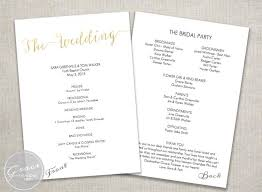 Wedding Ceremony Programs Diy Gold Wedding Ceremony Program Instant Download Slant Title
