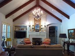 great room with cathedral ceiling rake beams transitional