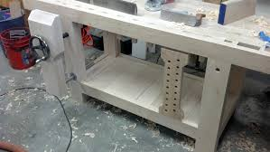 Work Bench With Vice Roubo Workbench Leg Vise Alternative Linear Bearings The Wood