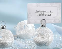 ornament favors snow flurry flocked glass ornament place card photo holder set of 6