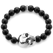 onyx skull bracelet images Sterling silver large skull black diamond onyx bead bracelet edus co jpg