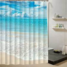 bathroom pattern summer fresh beach shower curtain blue sky pattern 3d print curtain