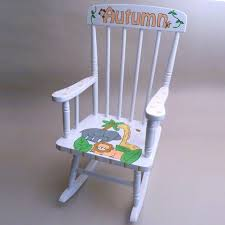 Nursery Upholstered Rocking Chairs Furniture White Wooden Rocking Chair With Jungle Animal Theme