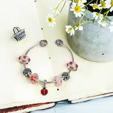 murano glass bead pandora bracelet images 925 silver white leaves petals pink murano glass bead fits pandora jpg