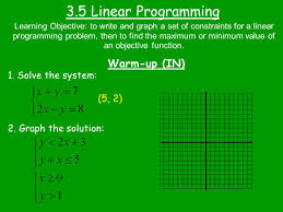 3 5 linear programming warm up in 1 solve the system 5 2