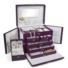 jewelry box necklace organizer images New shining image shining image large purple leather jewelry box jpg
