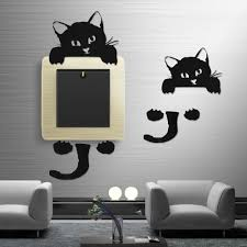 Wall Stickers Cats Black Cute Cat Wall Stickers Light Switch Decor Decals Art Mural