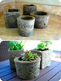 homemade pots made from cement a good way to use up the bags of