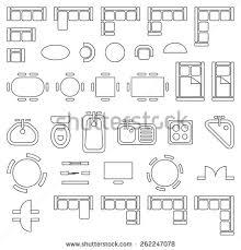 architectural symbols for floor plans standard furniture symbols used architecture plans stock vector